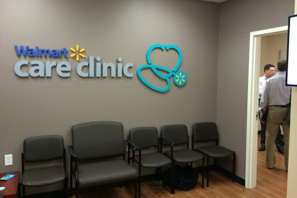 A Walmart Care Clinic in Carrollton, Georgia, is ready to start seeing patients. Those who use the clinic will pay $4 if they are covered by Wal-Mart's employee health plan or $40 if they do not.